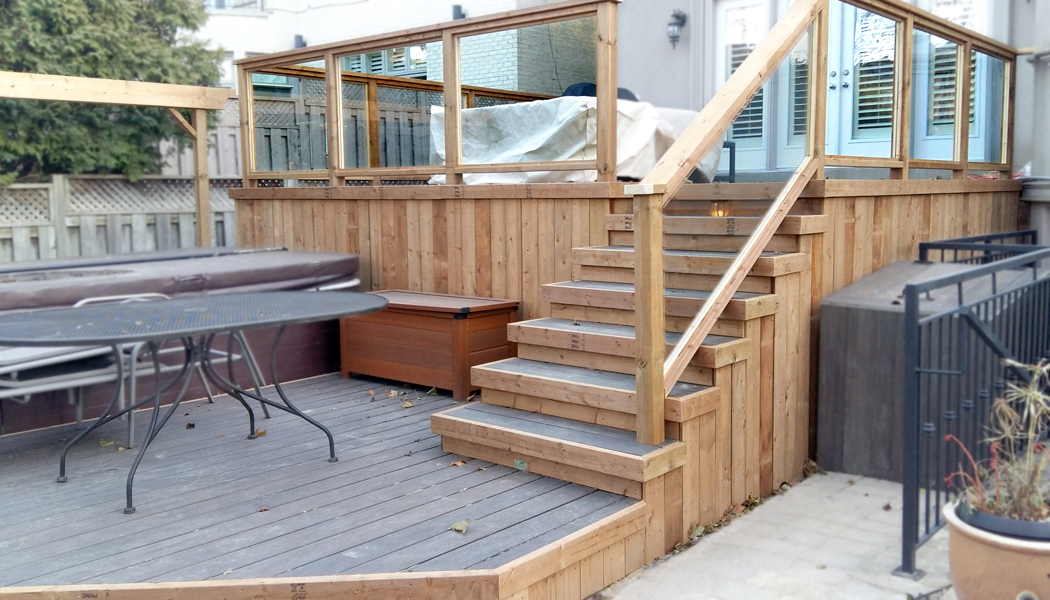Composite floor deck with brown treated lumber trim by for Brown treated deck boards